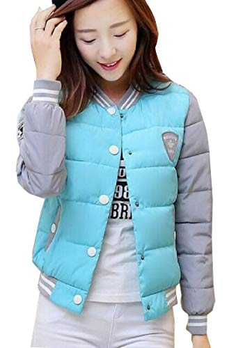 Long Jacket Sleeve Coats Light EKU Baseball Blue Down Zipper Women's CTUZwxZ5