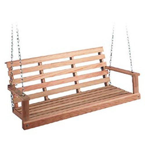 Beecham Swing Co. Flatbottom Oak Porch Swing Cross Back Porch Swing