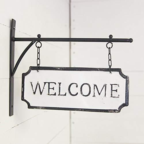 AT Vintage Metal Hanging Sign Wall Hanger Decor (Welcome)