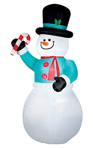 Gemmy Snowman with Candycane Christmas Inflatable Multicolored Fabric 71.65X64.17X144.09 in.
