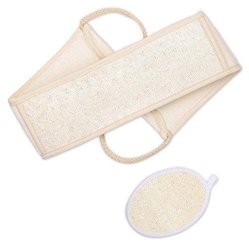 Plemo Luffa Rückenscrubber und Luffa Körperpad, Schwamm Luffa Rücken Gurt, Scrubber für Dusche