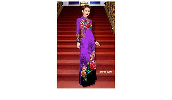 Traditional Vietnamese Long Dress Collections with Pants Silk 3D ADVN0405202183 Ao Dai
