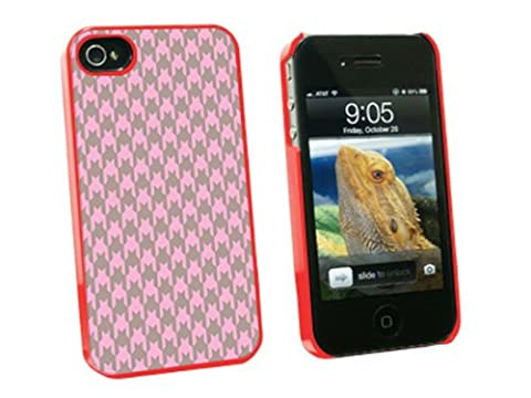 Graphics and More Preppy Houndstooth Pink Gray Snap-On Hard Protective Case for Apple iPhone 4/4S - Non-Retail Packaging - (Iphone 4 Case Preppy)