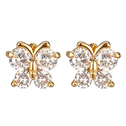 18k Gold Cubic Zirconia Butterfly Stud Earrings ()