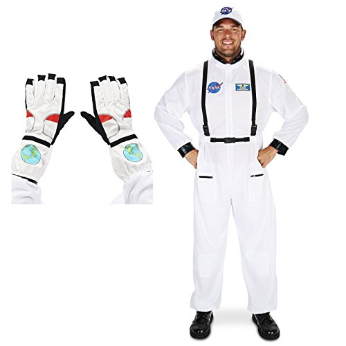 Nasa Costumes Adults (White Astronaut Adult Costume X-Large Gloves Bundle Set)