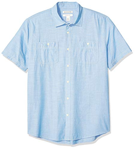 Amazon Essentials Men's Standard Regular-Fit Short-Sleeve Chambray Shirt, Light Blue, Large