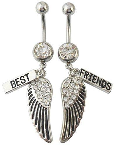 21secret Piercing Body Jewelry 316L Surgical Steel 14g Clear Crystal Rhinestones Long Dangle Best Friend Dance Navel Belly Button Rings