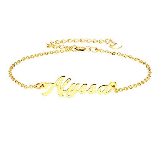 LAOFU Personalized Name Bracelet 18k Gold Plated Link Bracelet Gift for Women (Alyssa) ()
