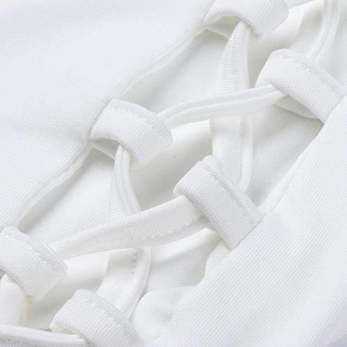 Casual Piedi Vita Bianco Tasche Pantaloni Donna A Xmiral Alta nw0Yx7q