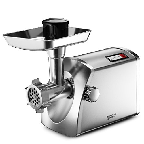 Magic Mill MMG-3001 Stainless Steel Electric Meat Grinder & Sausage Maker - Set with 14+ Parts and Attachments - ETL Approved ()