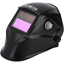 Auto Darkening Welding Helmet Solar Powered 3.62×1.65in/9.2×4.2cm SUPER VIEW TIG MIG Welder Protective Mask with Adjustable Shading DIN9-13 Face Protector for Manufacturing