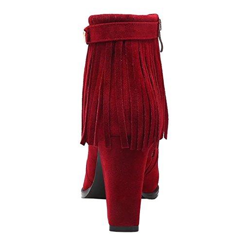 Aiyoumei Donna Punta A Punta Nappa Bootie Block Tacco Autunno Inverno Cerniera Stivaletti Con Fibbia Rosso