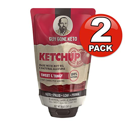 Guy Gone Keto Ketchup | Infused with MTC Oil | Paleo Ketchup | Low Carb Ketchup | Keto Condiment | No Artificial Sweeteners | Sweetened with All Natural Allulose, Monkfruit & Stevia | 14 oz. (2 Pack)
