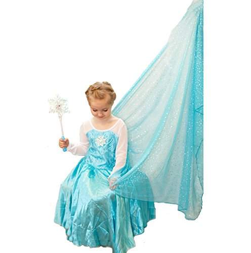 [Elsa Inspired Ice Princess Snowflake Dress w/Train, Light Up Snowflake Wand & Our Band] (Dresses Of Frozen)