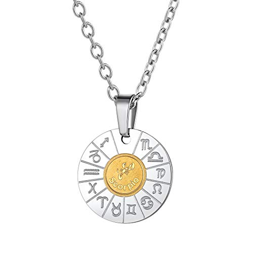 Suplight Silver Constellation Scorpio Necklace Stainless Steel 18K Gold Plated Zodiac Horoscope Taurus Pendant Bestfriend Jewelry Gift