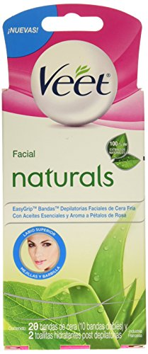Veet Bandas Depilatorias Faciales de Cera Fría Naturals, Piel Sensible, 20 Piezas