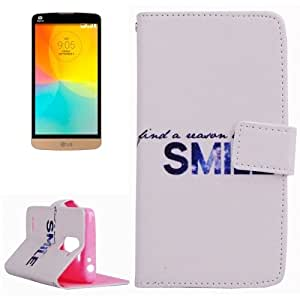 Concise Words Pattern Horizontal Flip Leather Case with Holder & Card Slots & Wallet for LG L Prime / D337