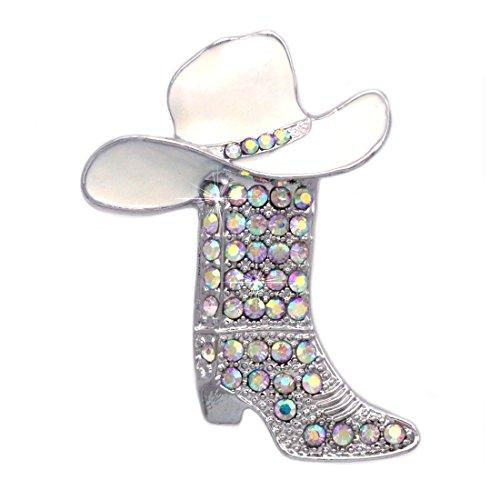 (Cowboy Cowgirl Hat Boot Breast Cancer Awareness Pink Ribbon Brooch Pin)