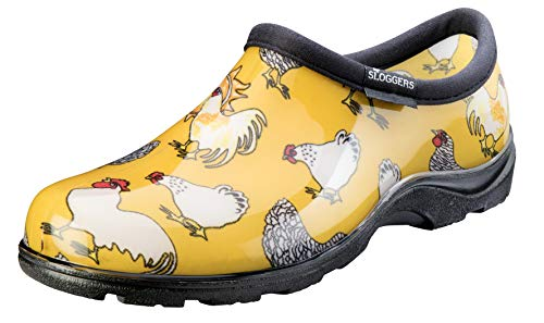 Sloggers Women#039s Waterproof  Rain and Garden Shoe with Comfort Insole Chickens Daffodil Yellow Size 10 Style 5116CDY10