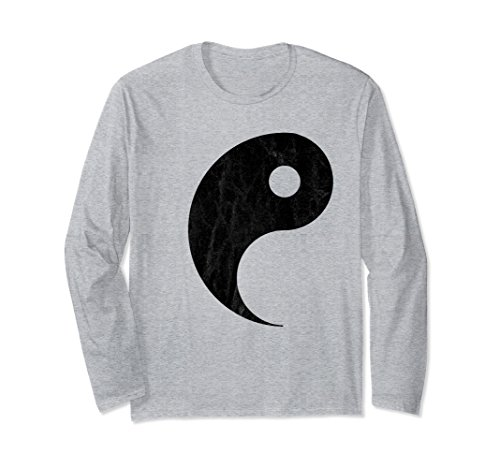 Unisex Yin and Yang Couples Halloween Costume Long Sleeve T-shirt Small Heather Grey -