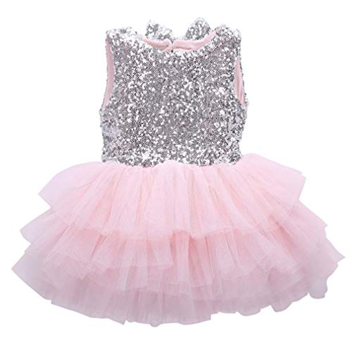VADOLY Infant Toddler Baby Girl Sequins Flower Dress Bow Lace Party Gown Formal Dresses Backless ()
