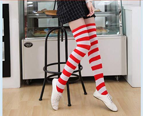 Fashion Stockings for Women Christmas Halloween Knee Socks New Women Striped Stockings Female Cotton Thigh High Stockings .Item Length:1745cm