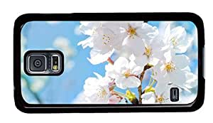 Hipster Samsung Galaxy S5 Case water proof cases White Blossoms PC Black for Samsung S5