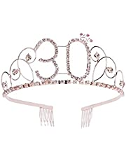 Frcolor 30th Birthday Tiara Crystal Rhinestone Women 30th Birthday Crown with Combs (Rose Gold)