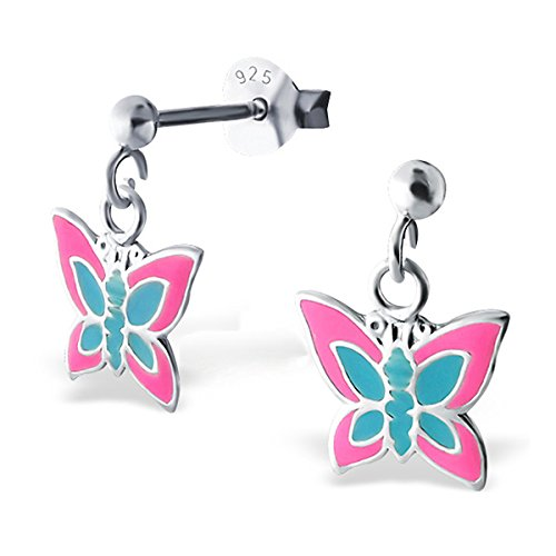 So Chic Bijoux © Boucles d'oreilles Papillon Coloré Argent 925