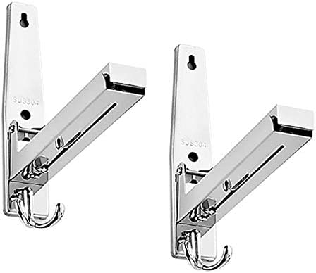 Microwave Bracket,Aolvo 304 Stainless Steel Oven Wall Mounted Shelf Holder Rack Adjustable Foldable Stretchable Stand Bracket with Hook for Kitchen Load 75kg Silver