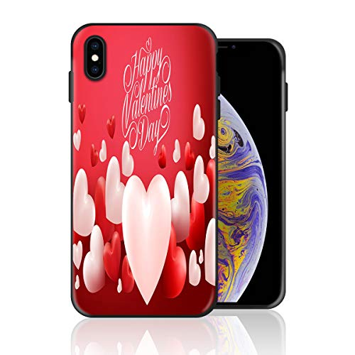 Silicone Case for iPhone 8 and iPhone 7, Happy Valentine's Day Balloons Design Printed Phone Case Full Body Protection Shockproof Anti-Scratch Drop Protection -