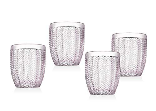 Pink Double Old Fashioned - Twill Double Old Fashioned Glasses Beverage Glass Cup by Godinger - Rose Pink - Set of 4