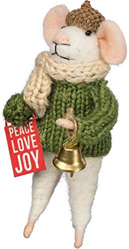 Mouse - Box Sign Peace Love Joy Ornament Shelf Decor 4.75' Primitives by Kathy -