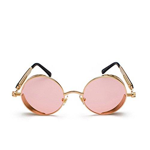 de sol Rosa Lente retro de color Océano Dorado de de Marco sol moda Inlefen metal Gafas círculo de de Marco Gafas wRgZqgO