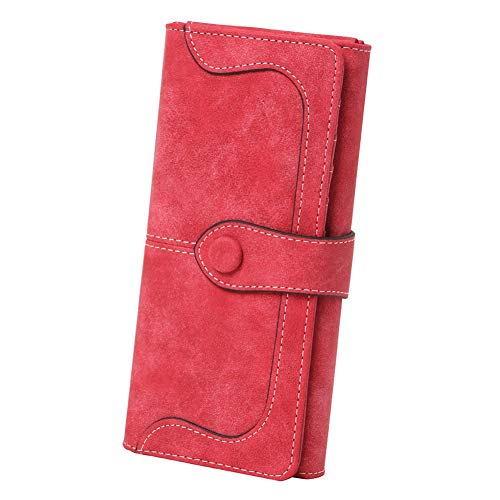 (Women's Vegan Leather 17 Card Slots Card Holder Long Big Bifold Wallet,Red)