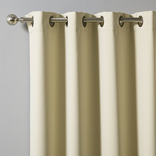 "Best Home Fashion Thermal Insulated Blackout Curtains - Antique Bronze Grommet Top - Beige - 52""W x 84""L - (Set of 2 Panels)"