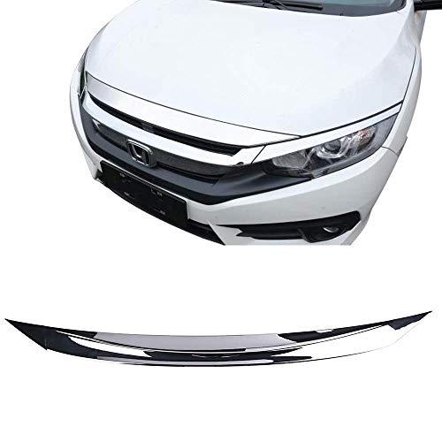 Front Hood Bonnet Lip Fits 2016-2018 Honda Civic   Chrome Bumper Bonnet Lip Guards Cover Vent By IKON MOTORSPORTS   2017 ()