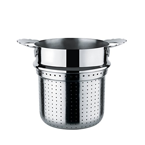 Alessi ''Dressed'' Pierced Basket For Pasta-Set in 18/10 Stainless Steel Mirror Polished, Silver by Alessi