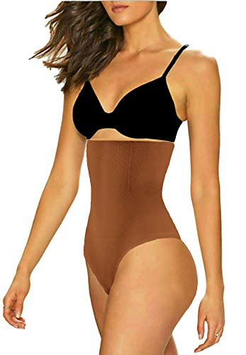ShaperQueen 102 Best Womens Waist Cincher Body Shaper Trimmer Trainer Slimmer Girdle Faja Bodysuit Short Tummy Belly Weighloss Control Brief Corset Plus Size Underwear Shapewear Thong (L, Tan (Dark)