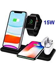 Dikkar 15W Wireless Charger Dock Stand for Airpods Pro Apple Watch 5 4 3 2 1, Qi 4 in 1 Foldable Fast Wireless Charging Station Compatible iPhone 11 Pro X Xs XR Max 8/Galaxy S10+/10/9/Note9/10