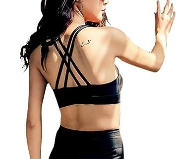 Yoga - Sujetador deportivo de Cruzado espalda, negro: Amazon.es: Deportes y aire libre