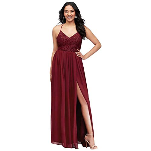 Glitter Lace Bodice Stretch Gown with Back Cutouts Style 3930ZT3D, Wine, 4