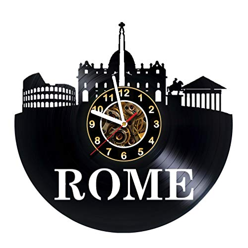 CHURCHES OF ROME - Wall Clock Made Of Vinyl Record - Handmade - Unique Design - Great gifts idea for birthday, wedding, anniversary, women, men, friends, girlfriend boyfriend and teens, religion, Rome