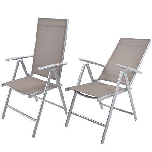Livebest Set of 2 Folding Recliner Outdoor Patio Sling Chair 7 Stalls Adjustable Lounge Chairs Aluminum Frame with Armrest Chair Furniture Garden Pool Bench,Gray