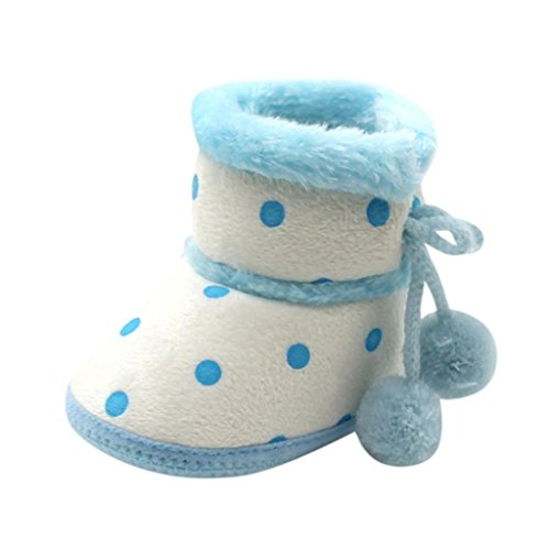 - Fheaven Baby Girls Boys Soft Dot Booties Warm Snow Boots Infant Toddler Newborn Warming Pompom Bandage Shoes (3-6Month, Blue)