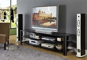 Amazon 83 Low Profile Modern Black Glass Amp Steel TV
