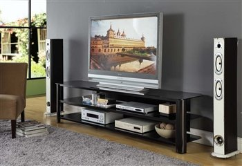 83u0026quot; Low Profile Modern Black Glass U0026 Steel TV Stand