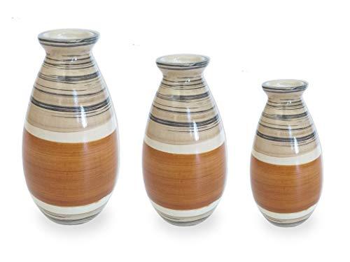 Conjunto 3 Vasos Rústico Cerâmica Arranjo Flor Artificial