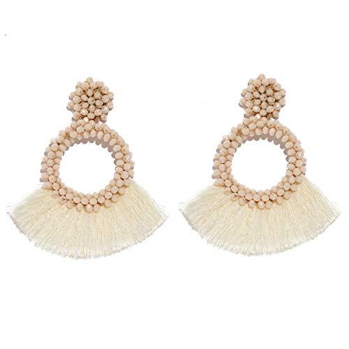 MOOCHI Ivory Crystal Beads Cricle Fan Tassel Vintage Statement Fringe Ear Drop Dangle Bohemian Earrings
