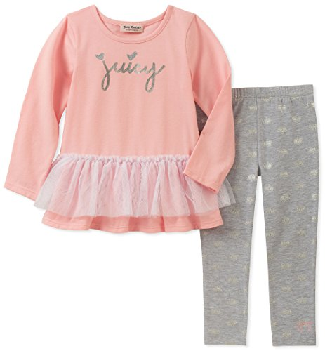 Girls Juicy Heart Couture - Juicy Couture Girls' Toddler 2 Pieces Tunic Legging Set, Pink/Gray, 3T